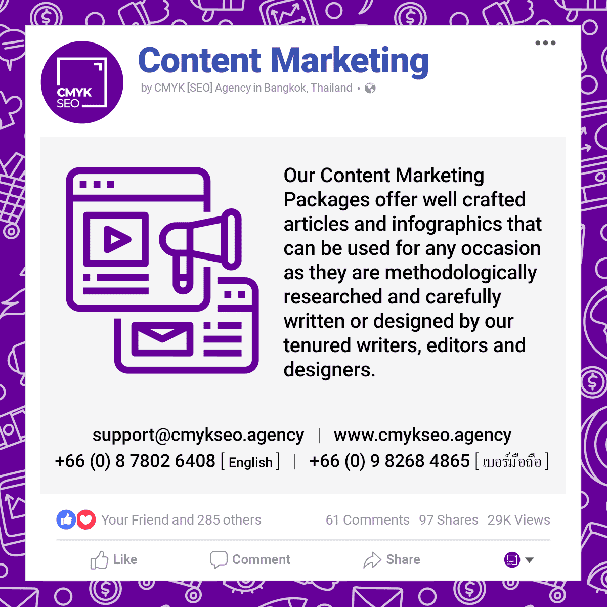 Content Marketing Services by CMYK SEO Agency in Bangkok Thailand | CMYK [SEO]: Bangkok SEO/SEM Agency