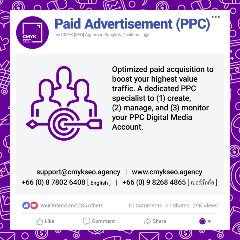 Paid Advertisement PPC Services by CMYK SEO Agency in Bangkok Thailand | CMYK [SEO]: Bangkok SEO/SEM Agency